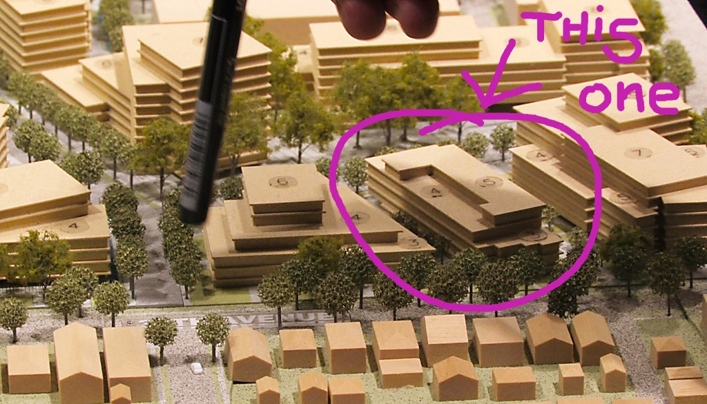Model of new building reviewed at Urban Design Panel