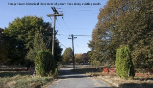 Power Lines once followed established roads through the site.