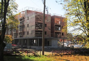 New construction at Little Mountain casts a long shadow in the autumn light - October 2013 - David Vaisbord photo.