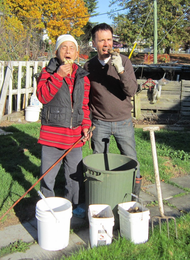 Chang and Vaisbord sample the gourmet harvest at Little Mountain.
